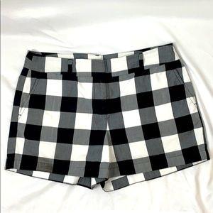 LOFT Black & White Plaid Shorts, Size 10
